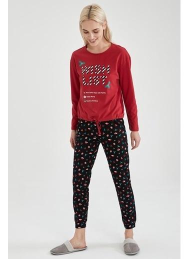 DeFacto Baskılı Uzun Kol Pijama Takımı Siyah
